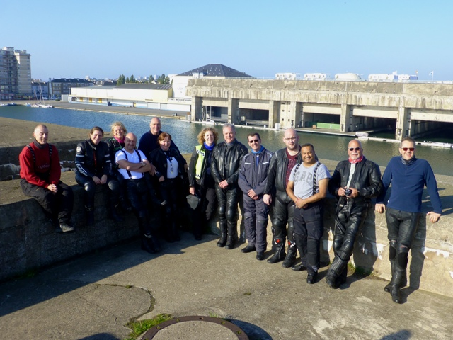 The Group at St Nazaire with the U-Boat pens in the background
