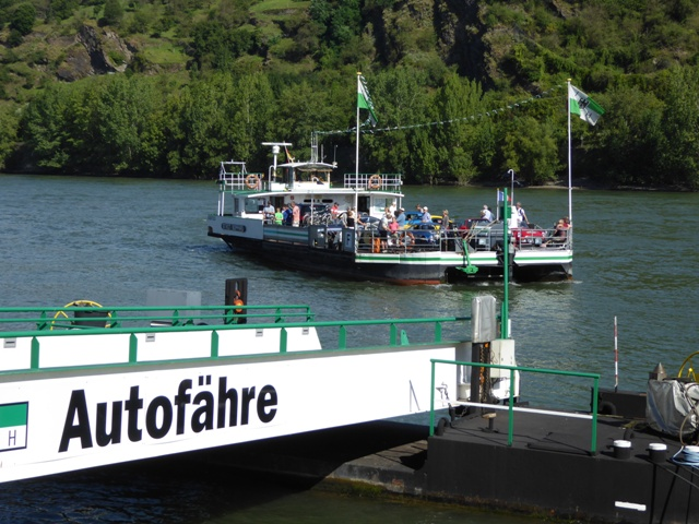 We take the car-ferry across the Rhine