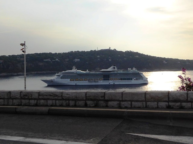 Cruise liner arrives as we leave