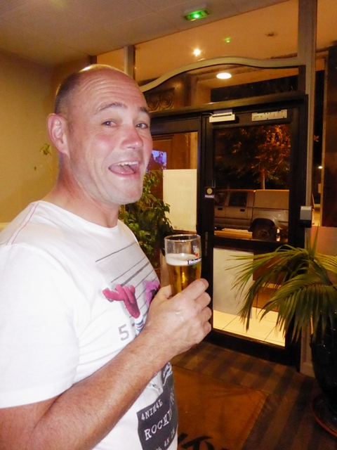 Ian enjoys a beer