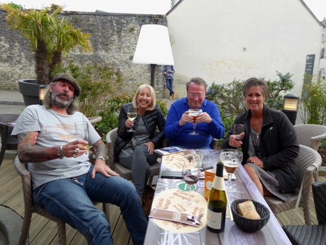 Back at Bayeux - drinks on the terrace