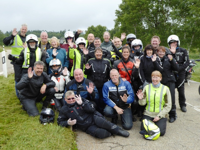 The group at the end of a misty B500 - another fab tour despite a few showers of rain!