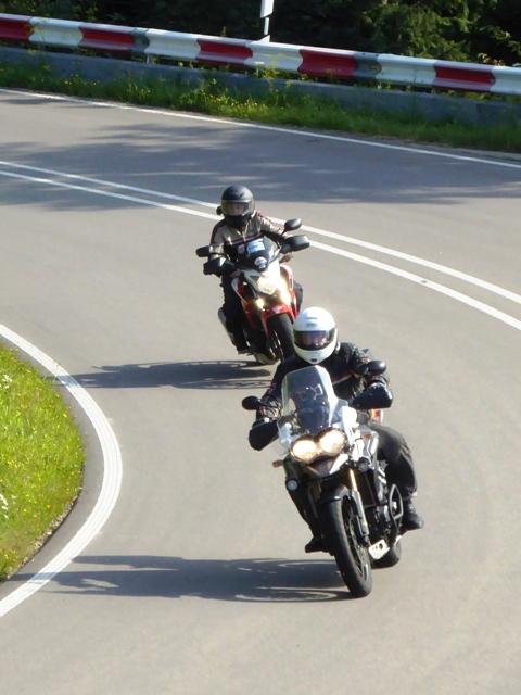 Stuart  on Triumph Explorer & Vanessa on Honda CB500
