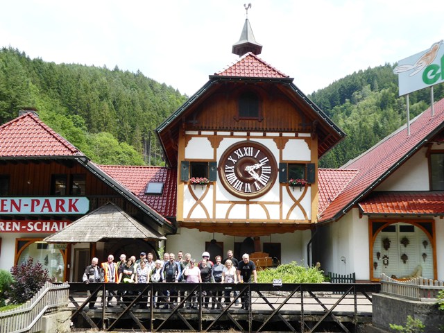 The group at the world's largest cuckoo clock