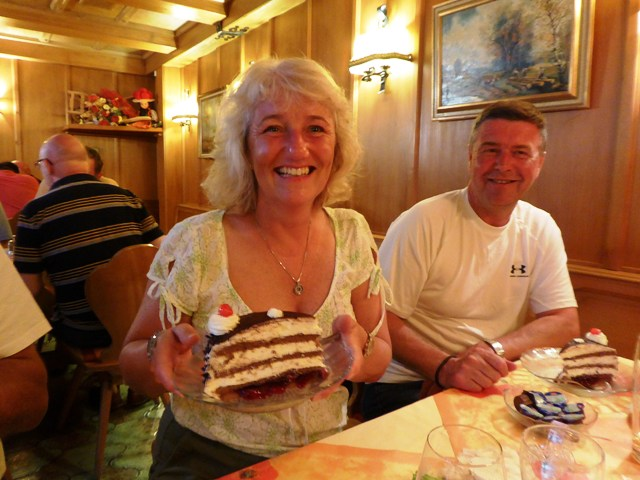 Mandy with a huge piece of Black Forest Gateau