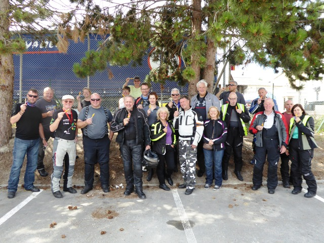 The group with ice-lollies at fuel stop