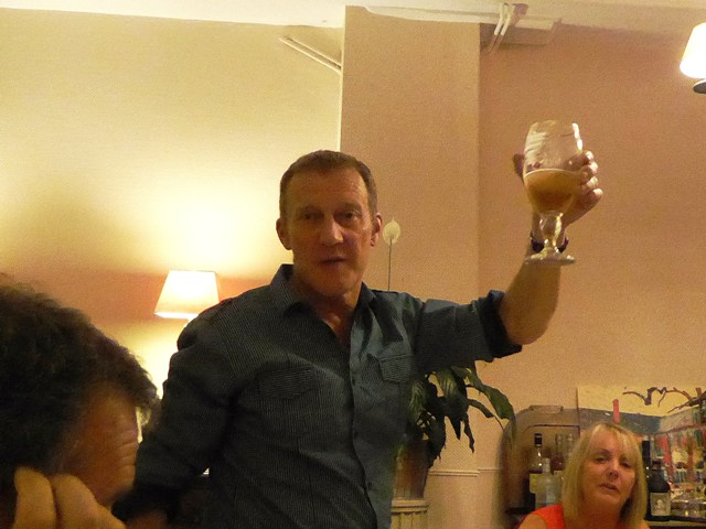 Kevin raises a glass in thanks to us!