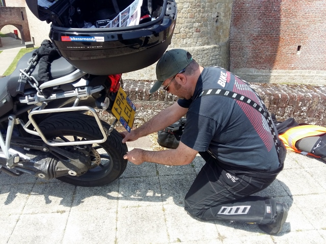 Paul has to repair a puncture...