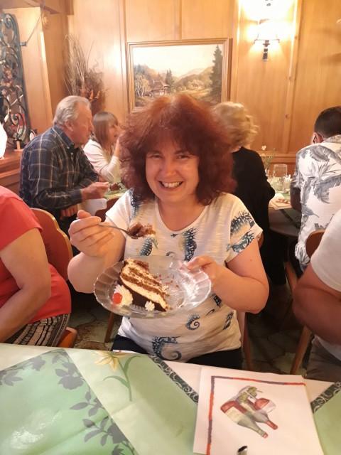 Julia enjoys Black Forest Gateau !